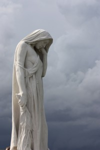 Walter Allward's marble sculpture of Mother Canada mourning her dead at Vimy Ridge memorial site in France.