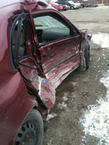 My Corolla sitting in a wrecking yard the afternoon of Dec. 30 last year. Almost a year after being t-boned in a Whitby intersection my case came to an Ontario courtroom.