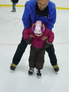"""Grandfather and granddaughter celebrate """"skate"""" of passage."""