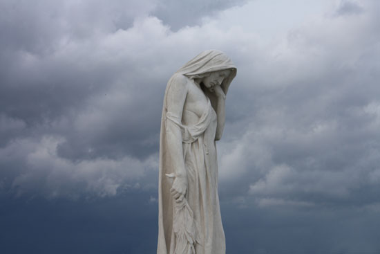 Mother Canada mourns her dead: key element of Walter Allward sculpture at Vimy Ridge memorial in France.