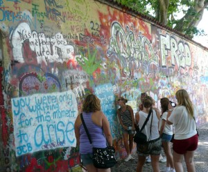 The John Lennon Wall was the only place in Prague where students felt they could demonstrate with immunity.