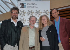 A 25th anniversary celebration of Public Lending Rights for writers. PLR campaigners (l to r) Ken McGoogan, Andreas Schroeder, Anna Porter and Alan Cumyn (chair of The Writers' Union of Canada posed Thursday, May 26, 2011, at the Toronto Reference Library.
