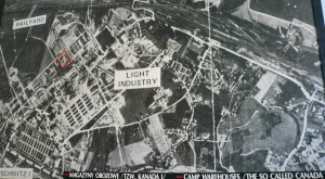 "Aerial photo of Auschwitz-Birkenau concentration camp where the storage buildings of valuables stolen from Jewish prisoners were called ""Canada"" warehouses."