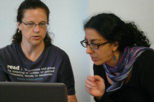 Evonne Garnett, left, and Ayelet Tsabari in a non-fiction workshop.