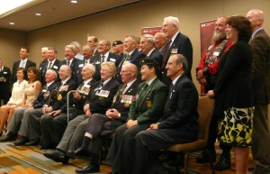 Ted Barris (seated right) with other recipients of the VAC commendation.