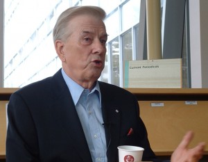 CTV News anchor Lloyd Robertson speaking at Centennial College in 2006.
