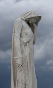 The statue of Mother Canada mourning her dead - part of the refurbished Vimy Memorial.