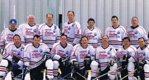 Uxbridge Oilies Oldtimers Hockey Club - Barris front row, far right.