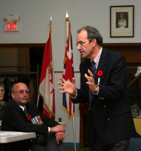 Speaking at a November 2011 Remembrance event.