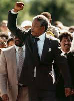 Nelson Mandela emerges from Robben Island prison in February 1990.