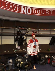 Crosby in Team Canada dressing room at Vancouver Olympics in 2010.