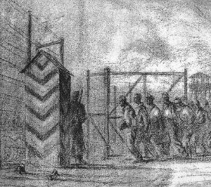 "Lea Kenyon's sketch ""The Purge"" when 19 POWs were marched out of Stalag Luft III to Belaria. (Kenyon sketch with permission)"