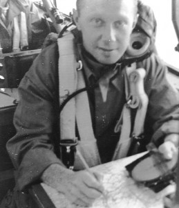 Don McKim, pictured at his navigation table, endured the cold of being shot down in winter and being imprisoned in winter.