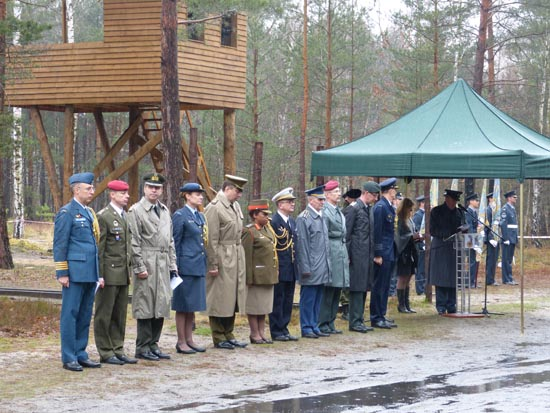 March 24, 2014, ceremony at Stalag Luft III with the newly built replica sentry tower.