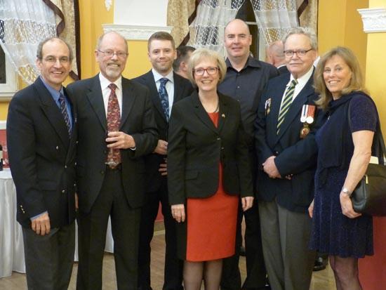 (l-r) Author, Keith Ogilvie, Casey Ogilvie, Ambassador Alexander Bailiskis, Peter McGill, Paul Tibolski, Jean Ogilvie.