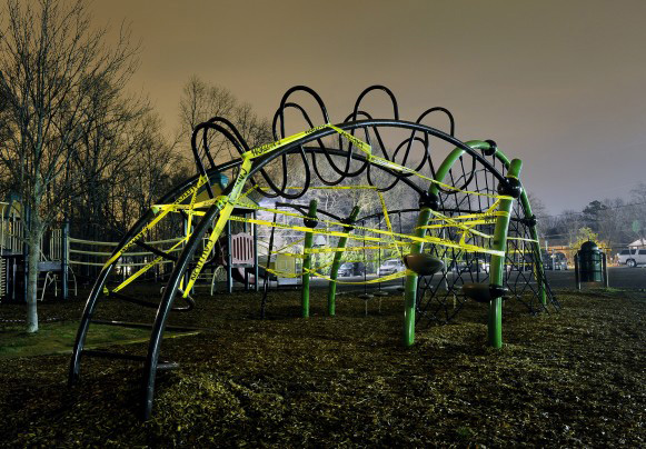 A playground in Washington, D.C., deemed unsafe was cordoned off by police.