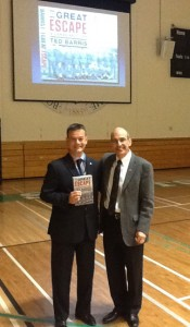 Calgary school administrator joins me on floor of St. Marys High School gym following my keynote on experiential learning.