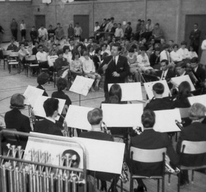 View from the back of the Agincourt Collegiate Institute band... with music teacher John Rutherford conducting. (May 1967)