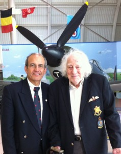 George Weber and I posed in front of his favourite aircraft - the Spitfire - where he spent mot of his WWII career.