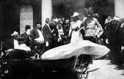 Archduke Ferdinand and his wife Sophie, just before they were assassinated, sparking WWI.
