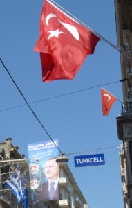 Political posters hang as prominently as the Turkish flag above the streets in Istanbul.