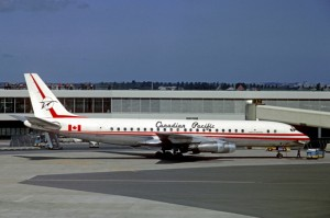 A long-ago Canadian Pacific Airlines jetliner.