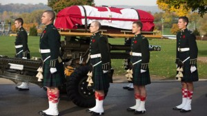Cpl. Nathan Cirillo's casket in the streets of Hamilton, Ontario, on the day of his funeral.