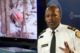 Toronto Police Services' Mark Saunders addresses media about tunnel discovery (courtesy CBC).