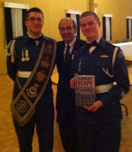 Two air force cadet warrant officers and a visitor at the end of a family gathering in Oshawa.