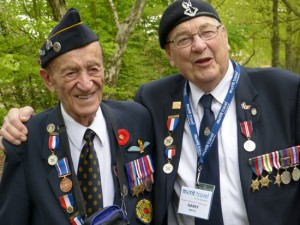 Veteran glider pilot Martin Maxwell and dispatch rider Harry Watts pause at the British Airborne Museum at Oosterbeek, Holland (2015).