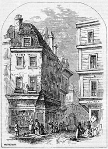 Grub Street as depicted in 19th century, as depicted in Chambers Book of Days.
