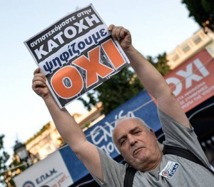 """Majority of Greeks voted """"No"""" to bail-out deal offered by the EU."""