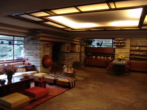Fallingwater's living room showcases Wright's favourite colours.
