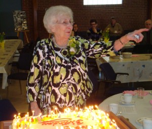 Marg Wright at her 90th birthday celebration in Winnipeg.