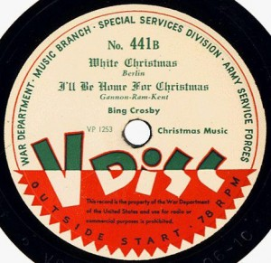 "78 RPM Decca V-Disc of ""I'll Be Home For Christmas"" recorded in 1943 by Bing Crosby and re-released by the U.S. War Department the following year."