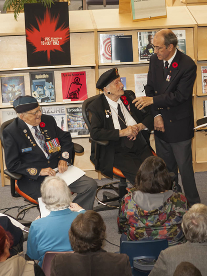 Ronnie being interviewed at Centennial College on Remembrance Day 2015.