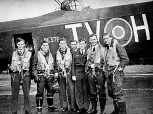 Second World War RCAF Lancaster bomber crew.
