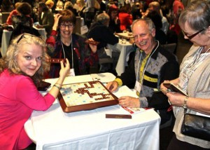 Scrabble With The Stars competitors (l-r) Charlotte Moore, Dorcas Beaton and Alan Gotlib. Photo from Performing Arts Lodges, Toronto. April 25, 2016.