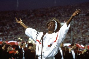 Because it was appropriate, Whitney Houston belted out The Star-Spangled Banner at the Super Bowl in 1991. Photo www.newyorker.com