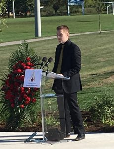 Logan Carswell remembers his brother during Highway of Heroes LAV Monument unveiling.