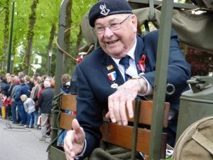 Canadian vet Harry Watts got to ride in the first jeep on VE Day in Holland, thanks to Rene.